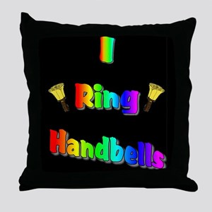 I Ring Handbells Black Throw Pillow