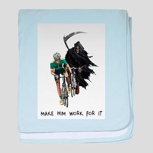 Grim Reaper Chasing Cyclist baby blanket
