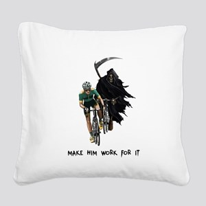 Grim Reaper Chasing Cyclist Square Canvas Pillow