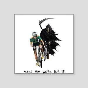 "Grim Reaper Chasing Cyclist Square Sticker 3"" x 3"""