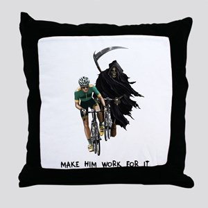 Grim Reaper Chasing Cyclist Throw Pillow