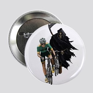 "Grim Reaper Chasing Cyclist 2.25"" Button"