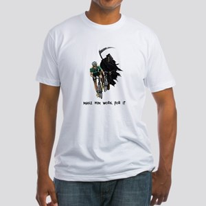 Grim Reaper Chasing Cyclist Fitted T-Shirt
