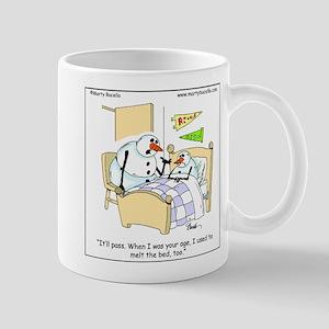 Snowman melts his bed Mug