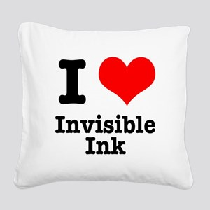 invisible ink Square Canvas Pillow