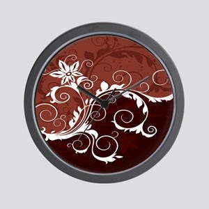 White on Red Floral Wall Clock