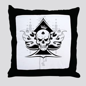 ace of spades skull Throw Pillow