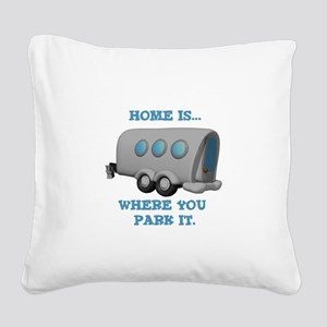 home is where u park Square Canvas Pillow