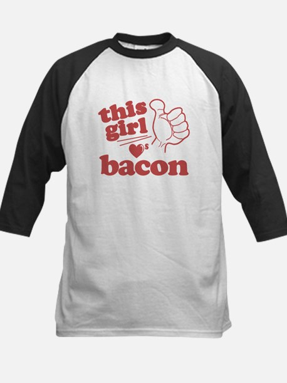 Girl Loves Bacon Baseball Jersey