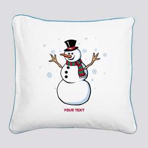 Custom Snowman Square Canvas Pillow