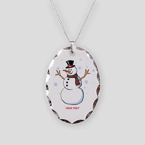 Custom Snowman Necklace Oval Charm