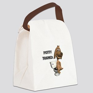 potty trained dog Canvas Lunch Bag