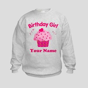 Birthday Girl Cupcake Kids Sweatshirt