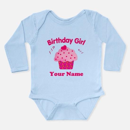 Birthday Girl Cupcake Long Sleeve Infant Bodysuit