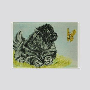 Chow Chow Dog with Butterfly Rectangle Magnet