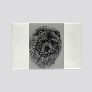 Chow Chow Dog Headstody - Black Rectangle Magnet