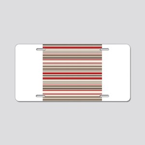 Red Gray Brown Stripes Aluminum License Plate