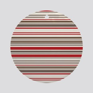 Red Gray Brown Stripes Ornament (Round)