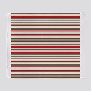 Red Gray Brown Stripes Throw Blanket