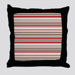 Red Gray Brown Stripes Throw Pillow