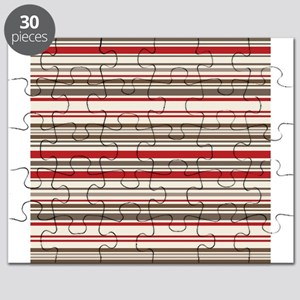 Red Gray Brown Stripes Puzzle