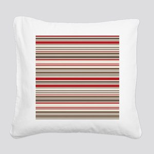 Red Gray Brown Stripes Square Canvas Pillow