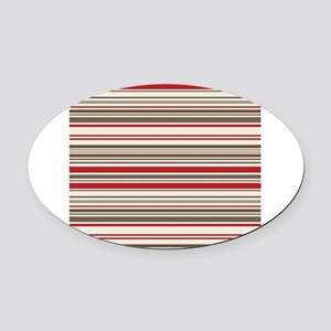Red Gray Brown Stripes Oval Car Magnet