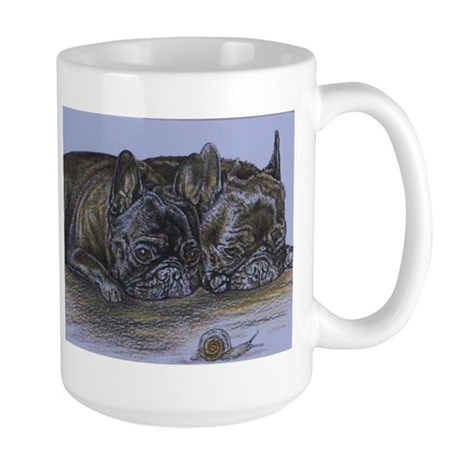 French Bulldogs with Snail Large Mug