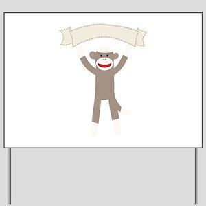 Sock Monkey Banner Yard Sign