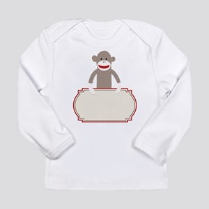 Sock Monkey Announcement Long Sleeve Infant T-Shir