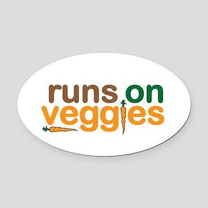 Runs on Veggies Oval Car Magnet