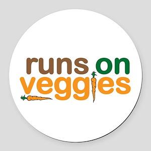 Runs on Veggies Round Car Magnet