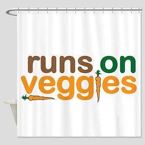 Runs on Veggies Shower Curtain