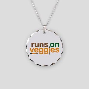 Runs on Veggies Necklace Circle Charm