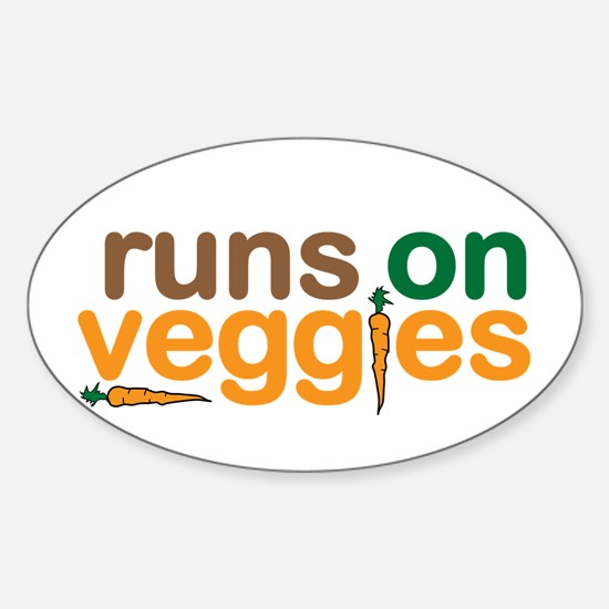 Runs on Veggies Sticker (Oval)