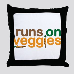 Runs on Veggies Throw Pillow