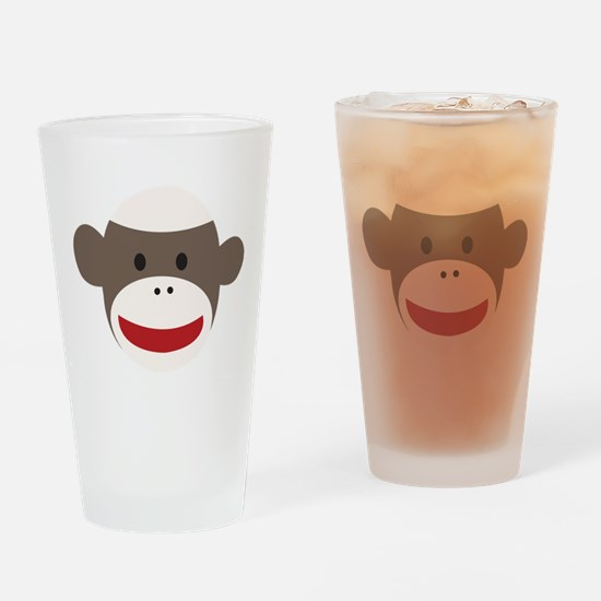 Sock Monkey Face Drinking Glass