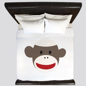 Sock Monkey Face King Duvet