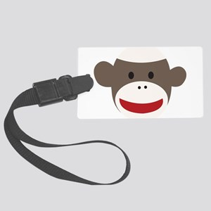 Sock Monkey Face Large Luggage Tag