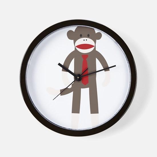 Red Tie Sock Monkey Wall Clock