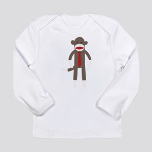 Red Tie Sock Monkey Long Sleeve Infant T-Shirt