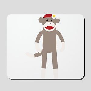 Flower Hat Sock Monkey Mousepad