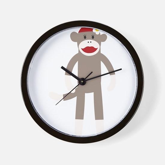 Flower Hat Sock Monkey Wall Clock