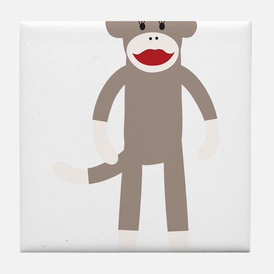 Flower Hat Sock Monkey Tile Coaster