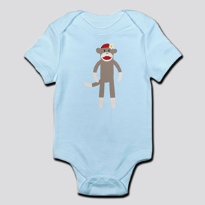 Flower Hat Sock Monkey Infant Bodysuit