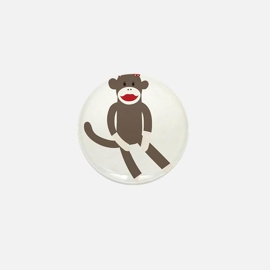 Polka Dot Sock Monkey Mini Button