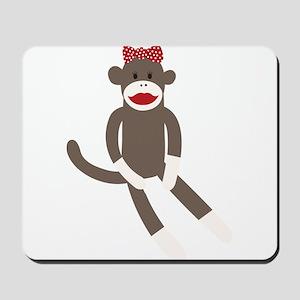 Polka Dot Sock Monkey Mousepad