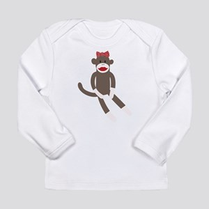 Polka Dot Sock Monkey Long Sleeve Infant T-Shirt