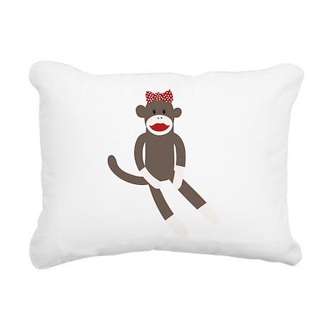 Polka Dot Sock Monkey Rectangular Canvas Pillow