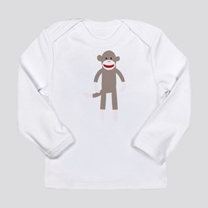 Happy Sock Monkey Long Sleeve Infant T-Shirt